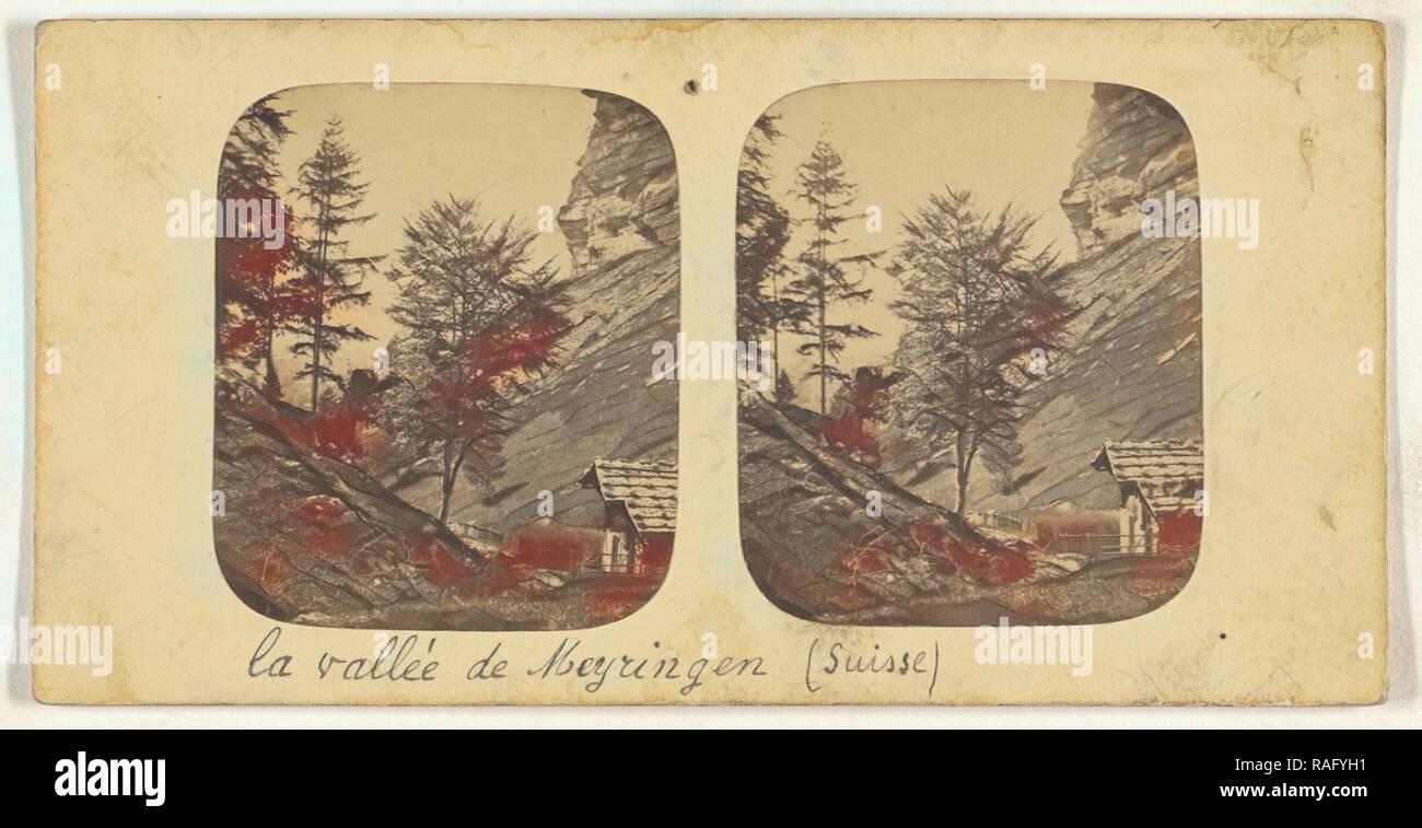 Paysage dans la Gorge obscure pres Meiringen (Suisse, Switzerland), about 1865, Albumen silver print. Reimagined - Stock Image