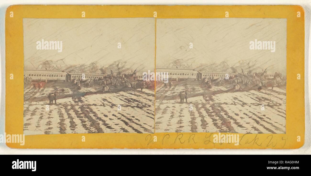U.P.R.R. Salt Lake, Ut.,1868 Excursion party?, American, about 1868, Albumen silver print. Reimagined - Stock Image