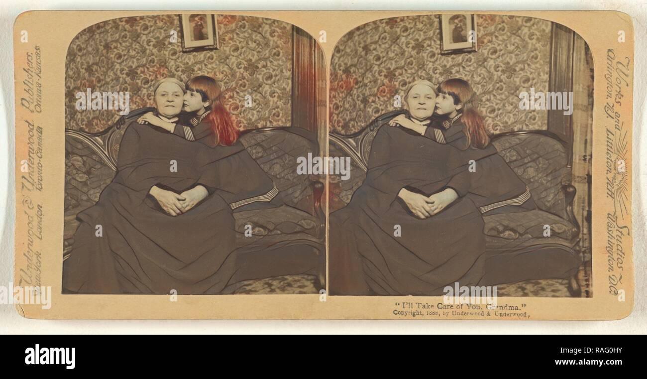 I'll Take Care of You, Grandma., Underwood & Underwood (American, 1881 - 1940s), 1888, Albumen silver print reimagined - Stock Image