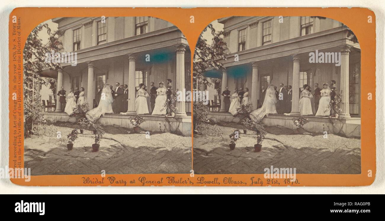 Bridal Party at General Butler's, Lowell, Mass., July 21st, 1870, Simon Towle (American, active Lowell, Massachusetts reimagined - Stock Image