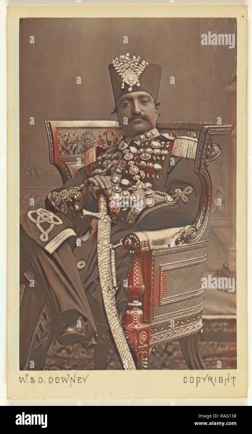 Nasar al-Din Shah Qajar, W. & D. Downey (British, active 1860 - 1920s), about 1865, Albumen silver print. Reimagined - Stock Image