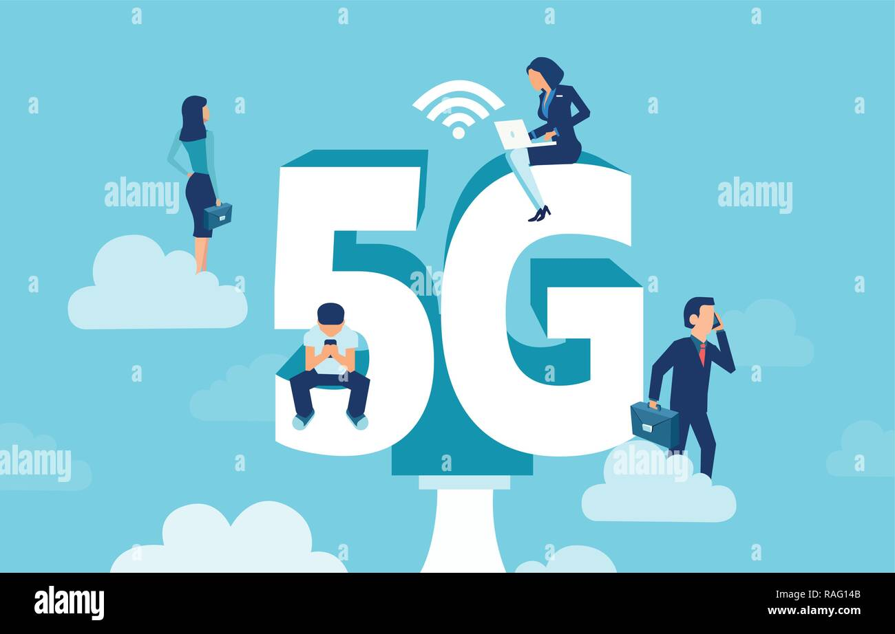 Vector of business people with gadgets sitting on the big 5G symbol networking using high speed wireless connection via mobile technology - Stock Image