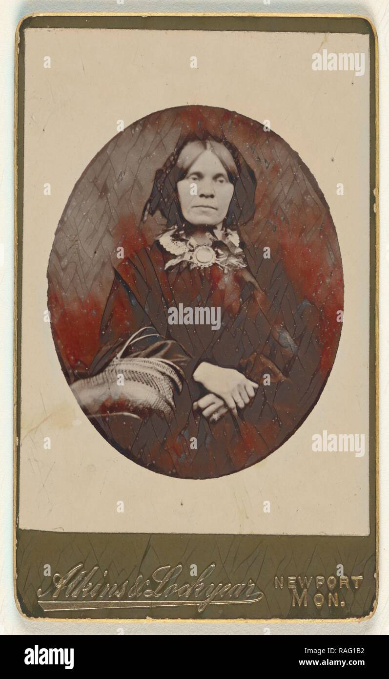 woman, in oval style, Helmut Petschler (English, born Germany, 1832 - 1869), 1860s, Carbon print. Reimagined - Stock Image