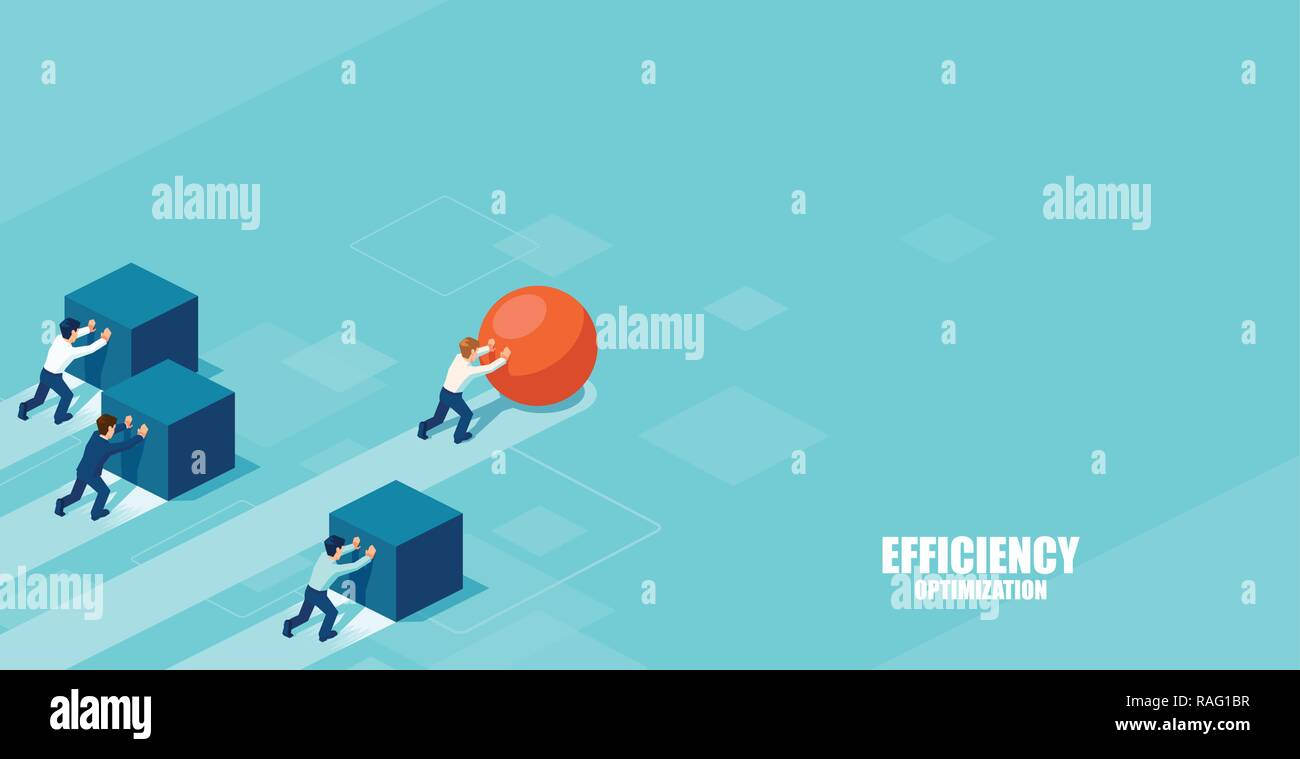 Vector of a smart businessman pushing a sphere leading the race against a group of slower businessmen pushing boxes. Winning strategy in business conc - Stock Vector
