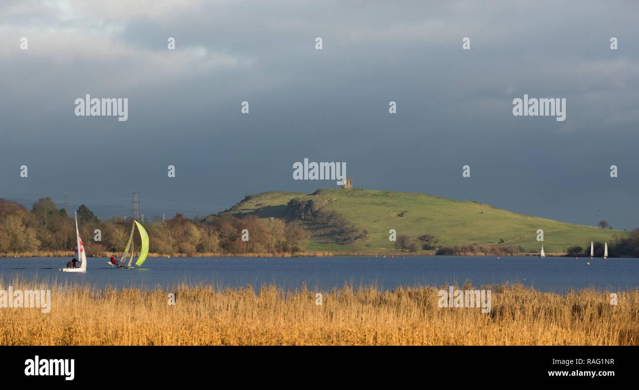 New Year Day Sail on Castle Semple Loch, Lochwinnoch Stock Photo
