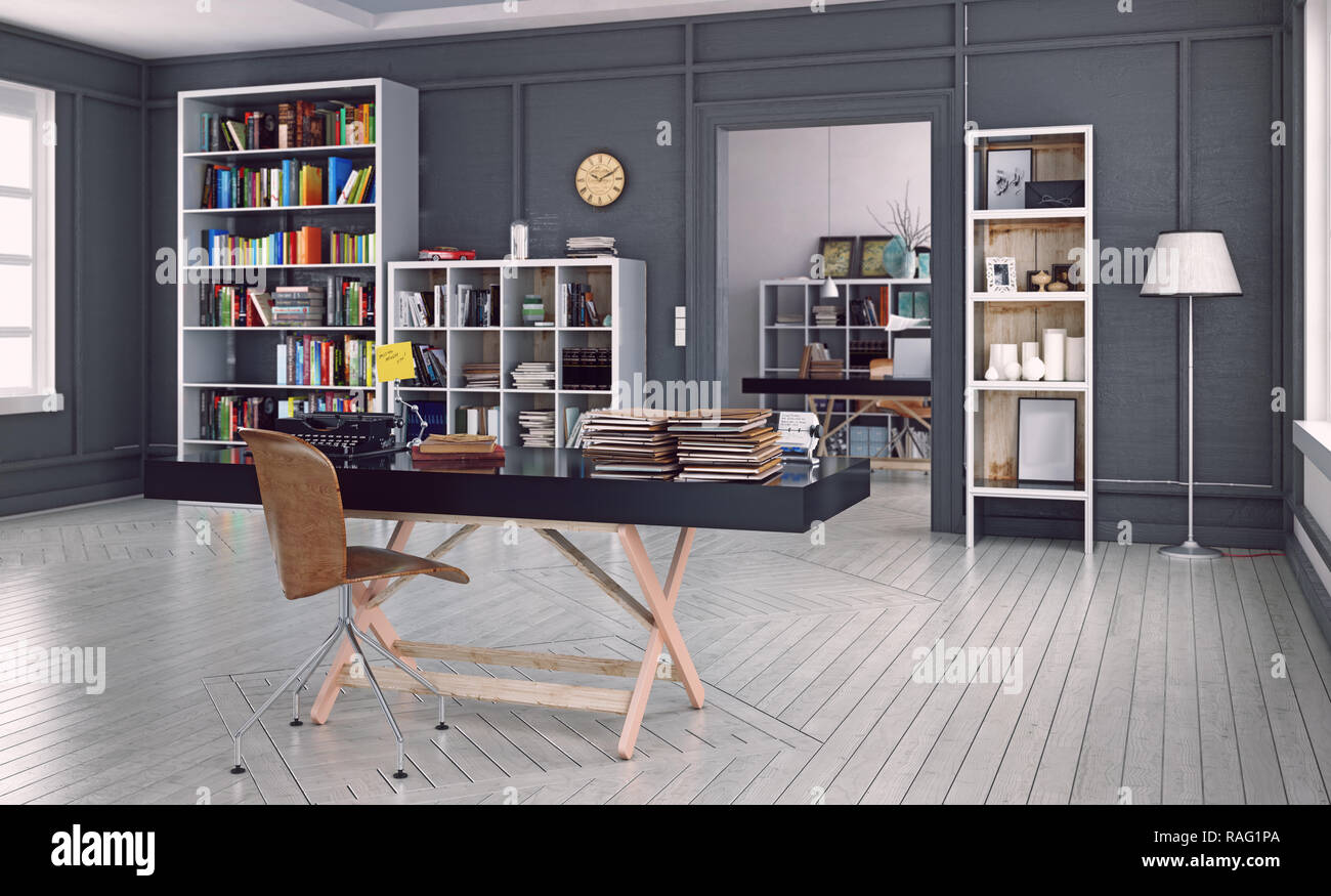 modern home office interior. 3d design rendering. Depth of field visual effect - Stock Image