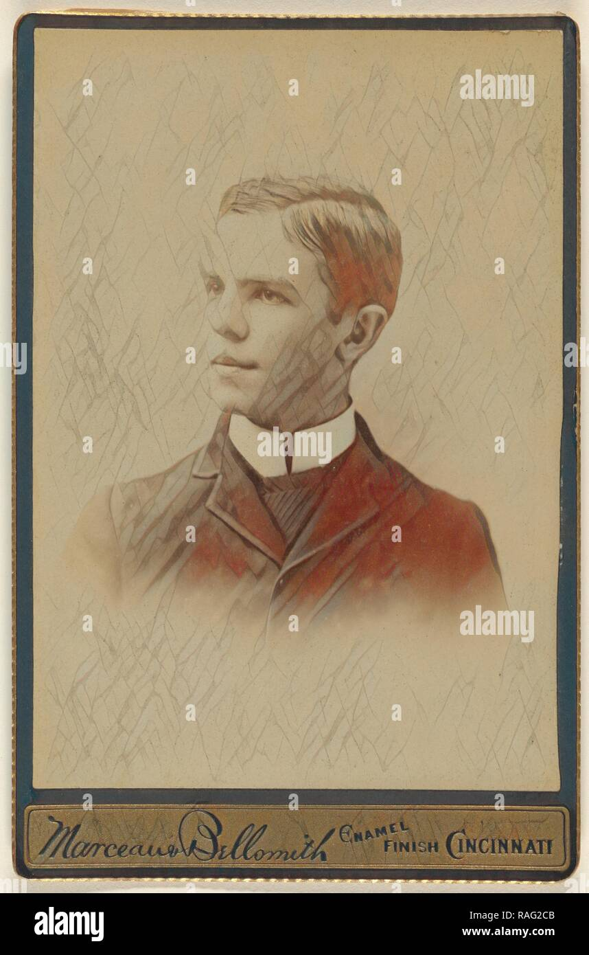 Portrait of a young man with high white collar shirt, Marceau & Bellsmith, 1880s, Albumen silver print. Reimagined - Stock Image