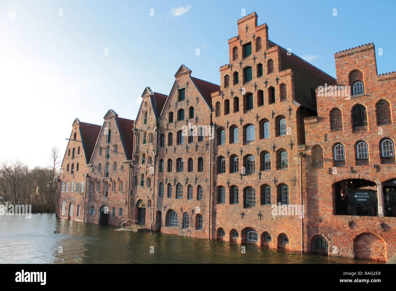 Hochwasser in Lübeck 2.1.19 - Stock Image