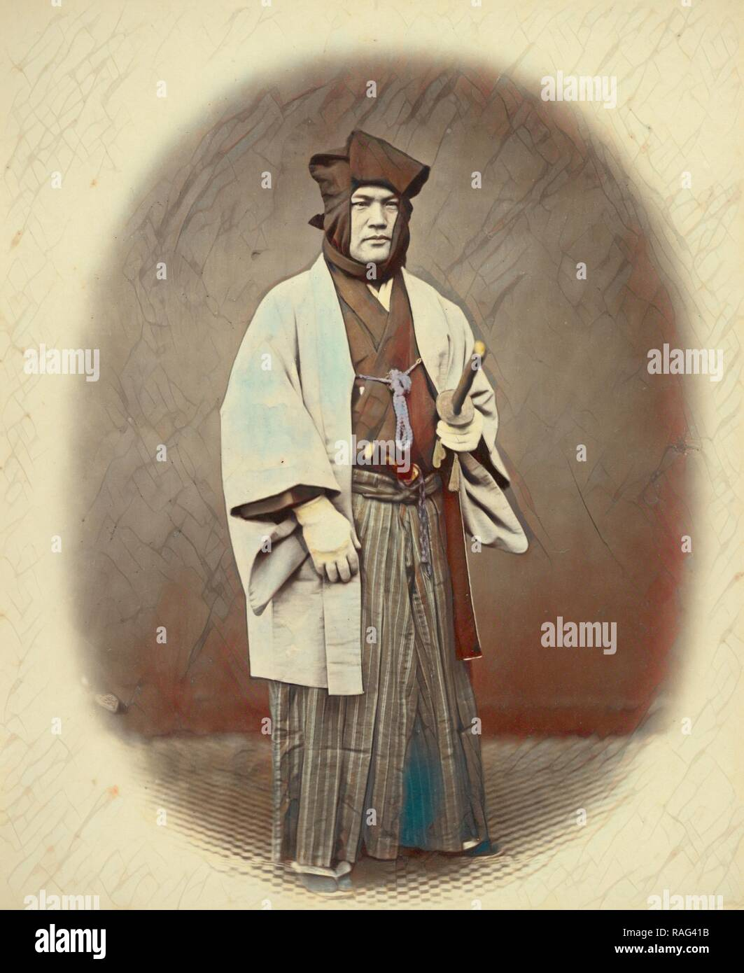 Officer in Winter Dress, Felice Beato (English, born Italy, 1832 - 1909), Japan, 1866 - 1867, Hand-colored Albumen reimagined - Stock Image