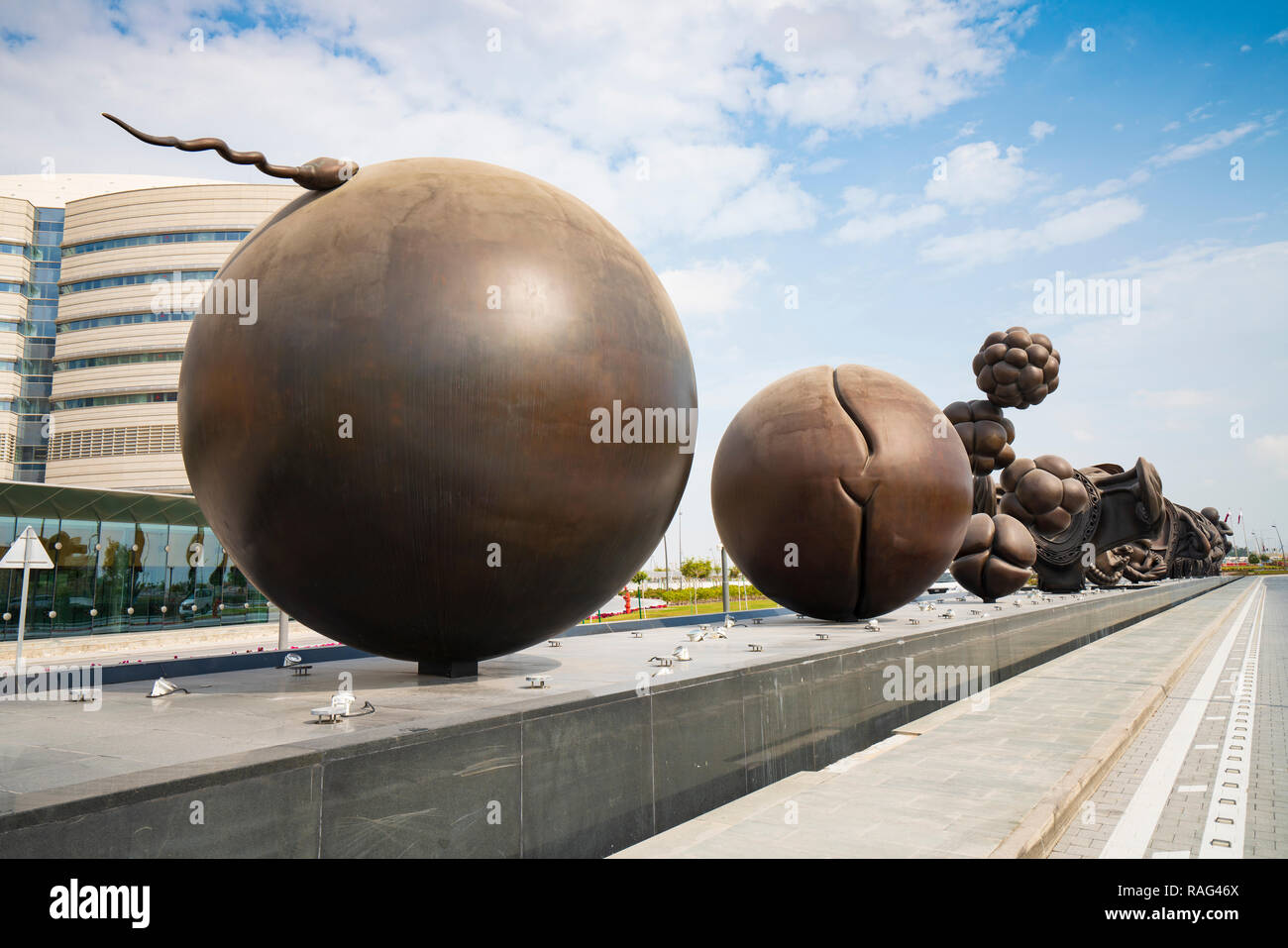 New sculptures showing stages of childbirth in the uterus by Damien Hirst at Sidra Hospital  in Doha, Qatar - Stock Image