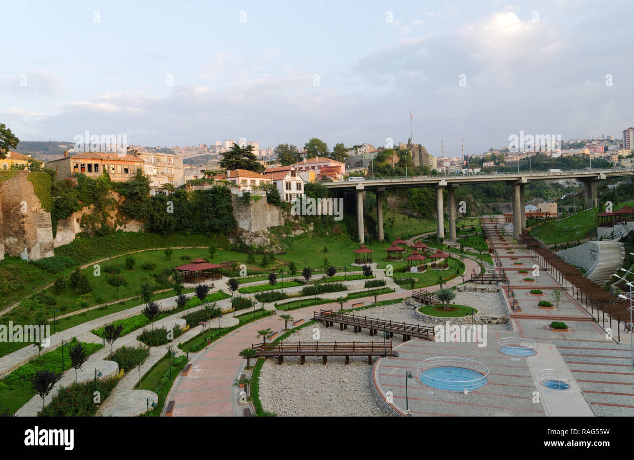 Trabzon, Turkey - August 14, 2008: Zagnos Valley Park, new recreation zone at the city walls of Trabzon. Promenades, amphitheater, duck ponds and gard - Stock Image