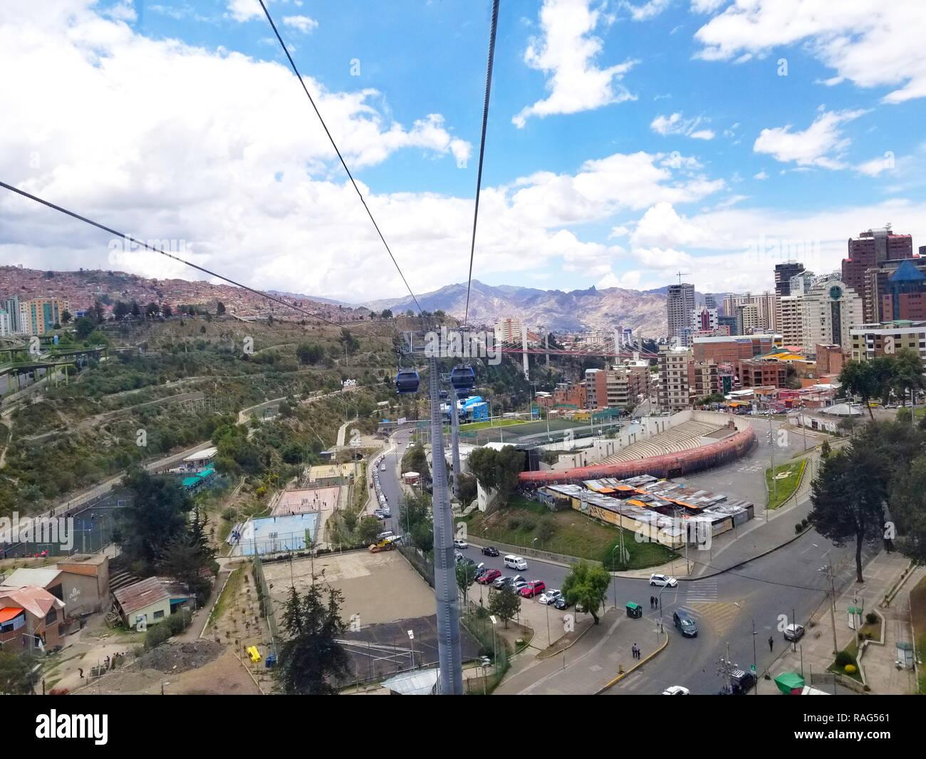 LA PAZ, BOLIVIA, DEC 2018: Aerial view of La Paz, Bolivia from a cable car. City center. South America Stock Photo