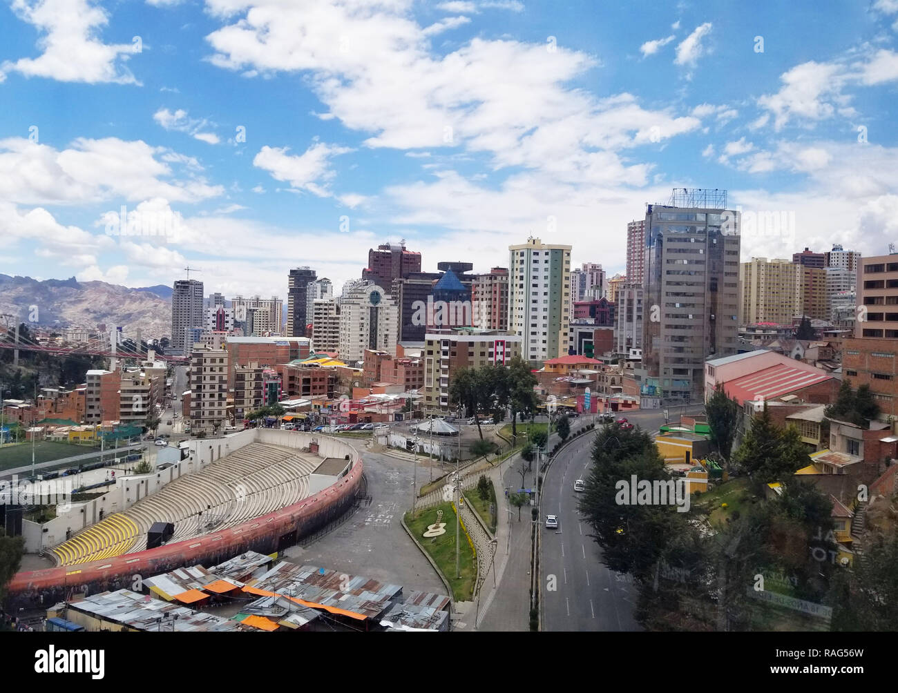 Aerial view of La Paz, Bolivia. City center. South America Stock Photo