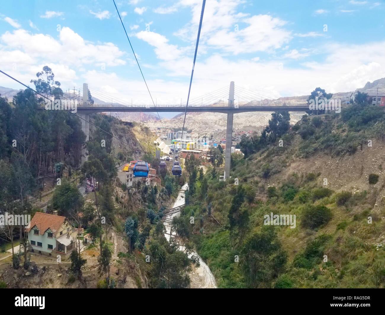 Aerial view of La Paz, Bolivia City center. South America Stock Photo
