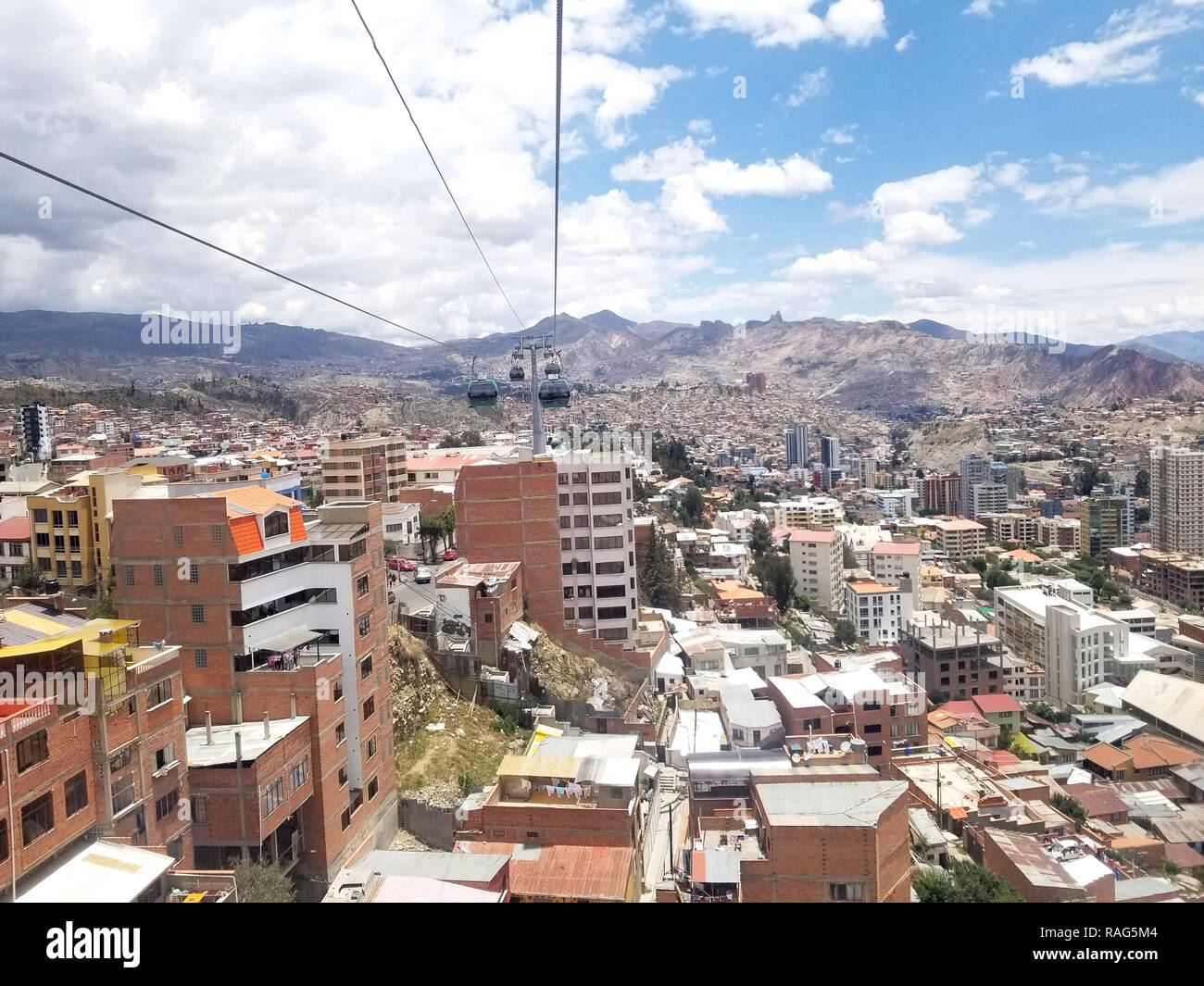 Aerial view of La Paz, Bolivia from a cable car. City center. South America - Stock Image