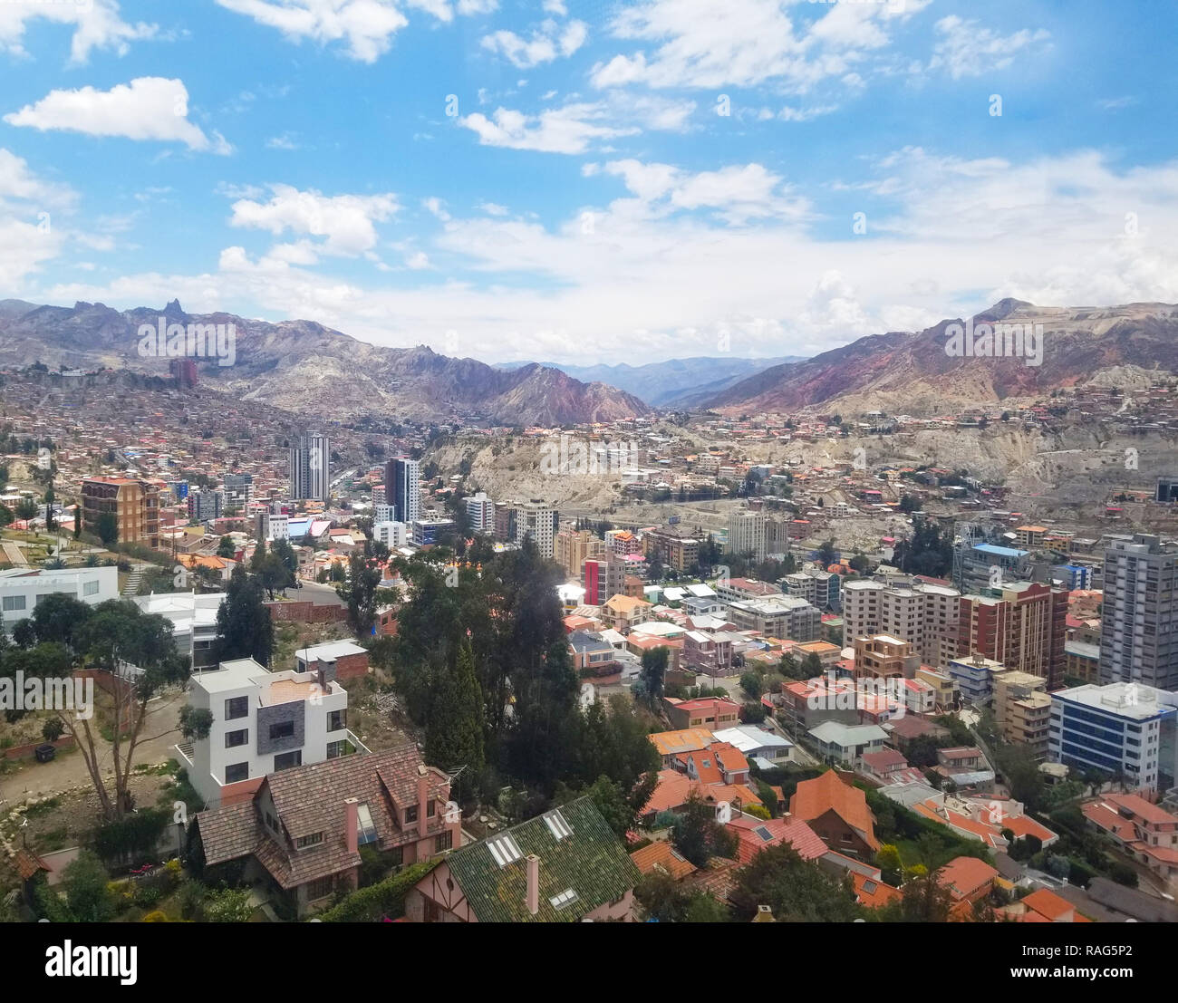 Aerial view of La Paz, Bolivia from a cable car. City center. South America Stock Photo
