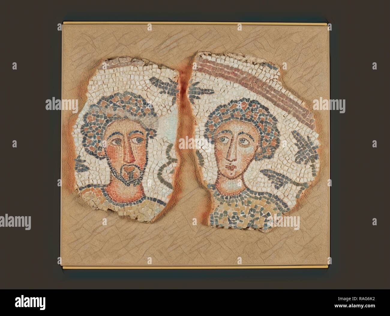 Mosaic Fragments (2), Eastern Mediterranean (?), 5th century, Stone and concrete, 48 × 68 cm (18 7,8 × 26 3,4 in reimagined - Stock Image