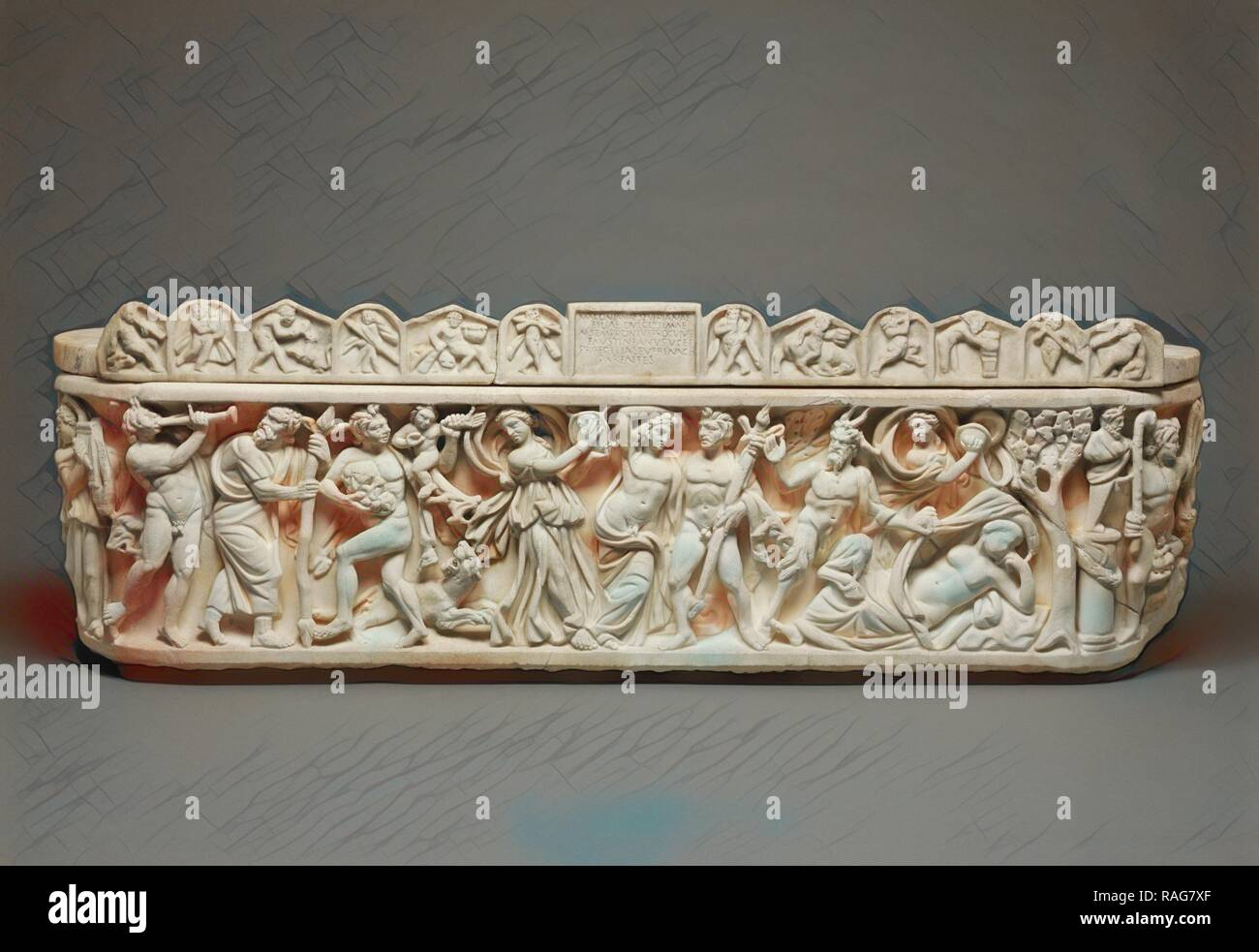 Sarcophagus with Scenes of Bacchus, Roman Empire, A.D. 210–220, Marble. Reimagined by Gibon. Classic art with a reimagined - Stock Image