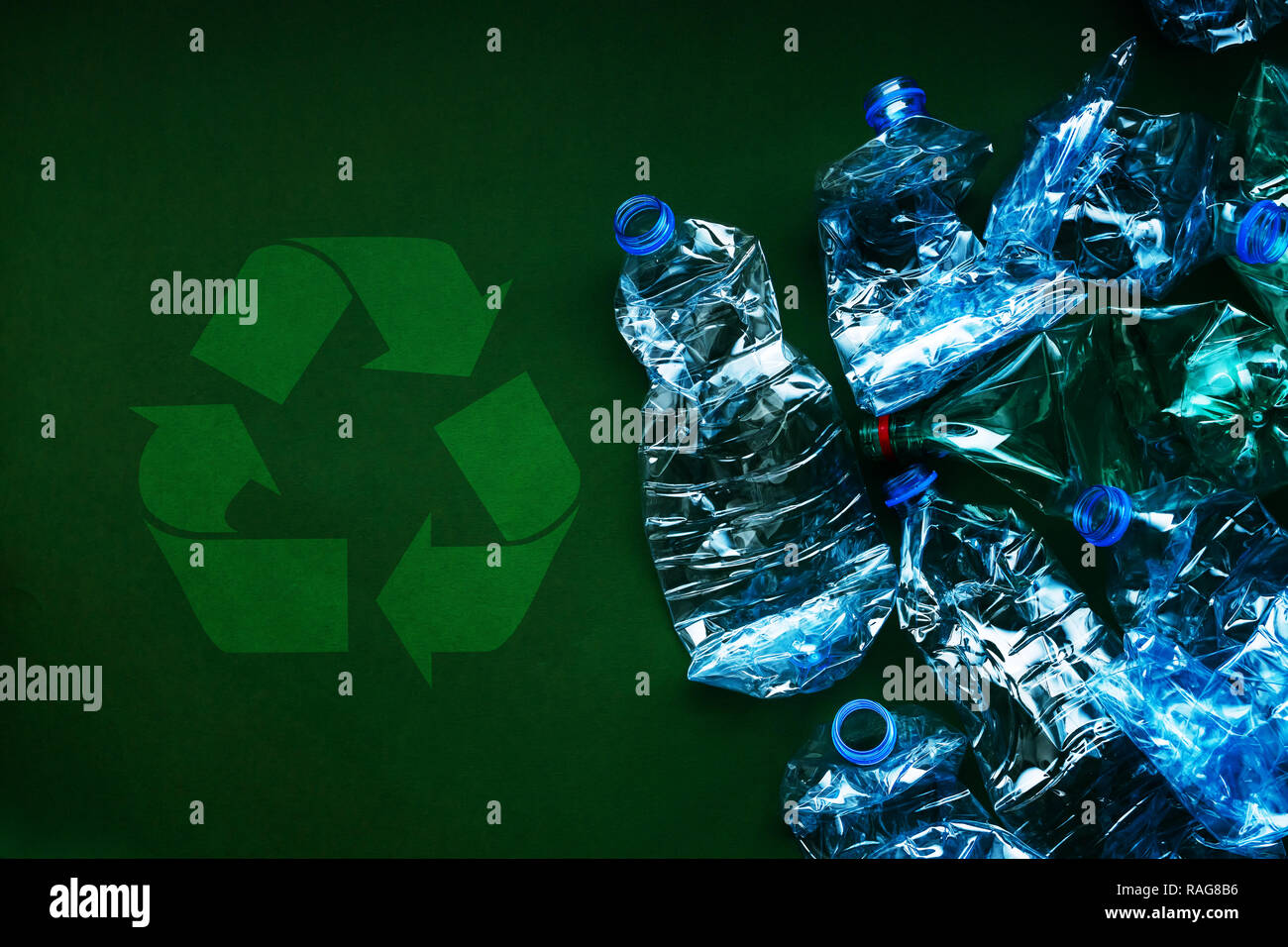 Plastic bottles for recycling, environmental damage and pollution concept - Stock Image