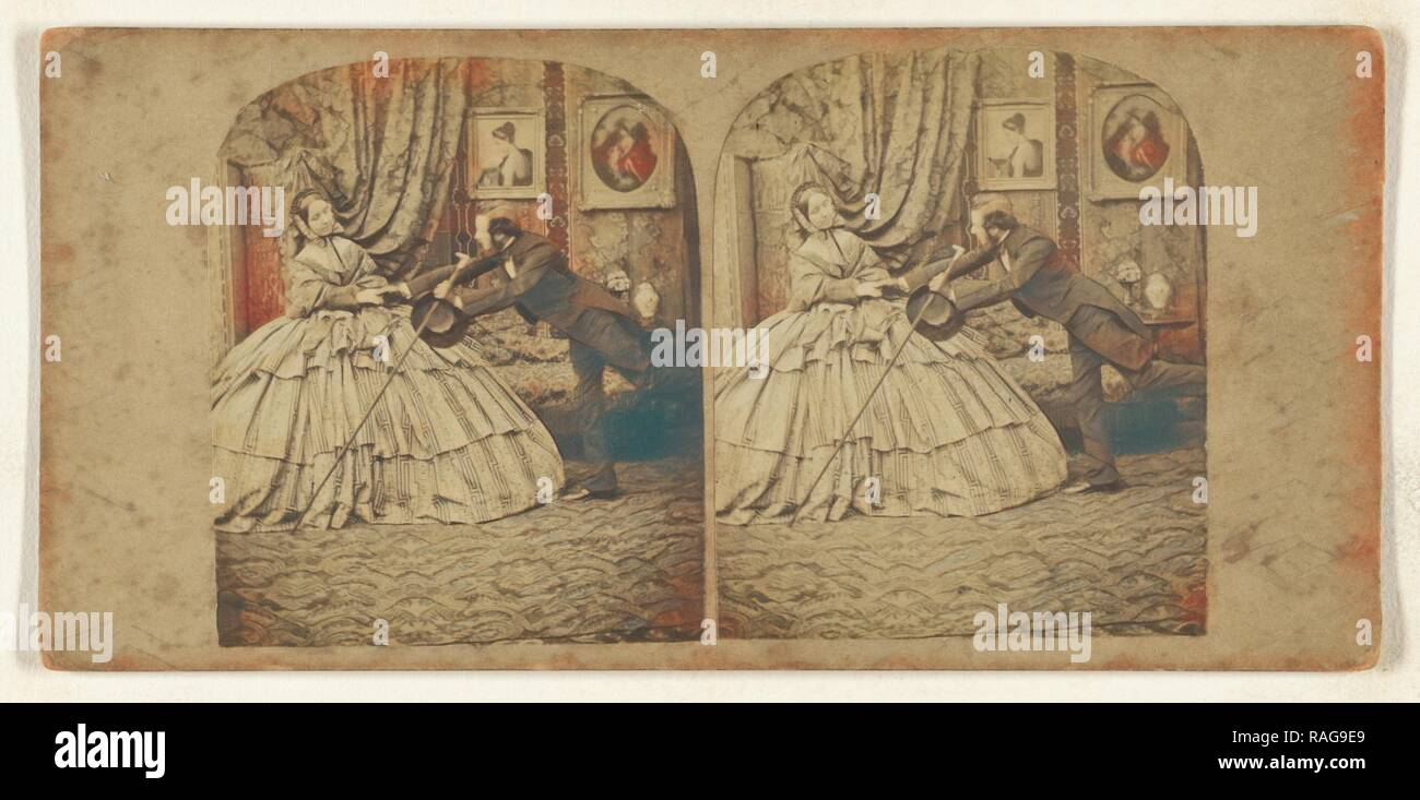 Genre: man trying to hold the hand of woman in hoop dress, about 1865, Albumen silver print. Reimagined - Stock Image