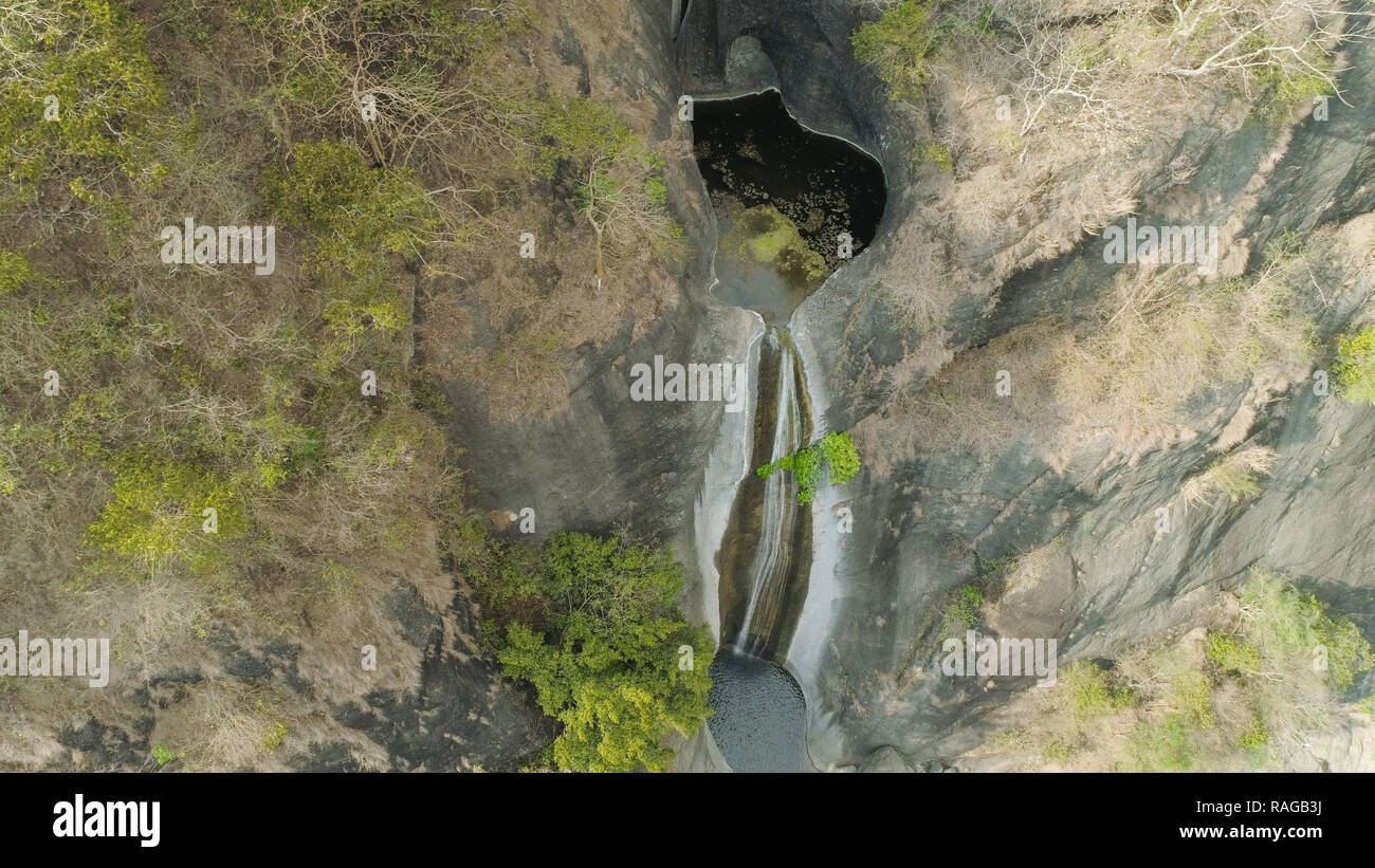 Aerial view of waterfall in the mountains of Filipino cordillera. Waterfall in the mountains. Bridal Veil falls, Baguio, Philippines, Luzon - Stock Image