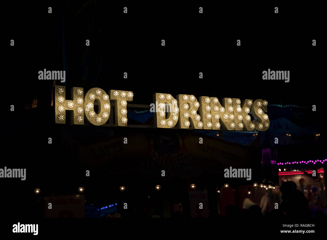 London, United Kingdom - December 30th 2018: Hot Drinks sign during the night time at Winter Wonderland / Hyde Park - Stock Image