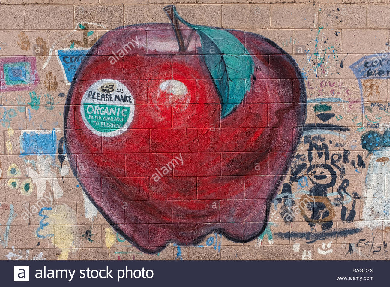 children's wall art of organic apple (organic food available to everyone) - Stock Image