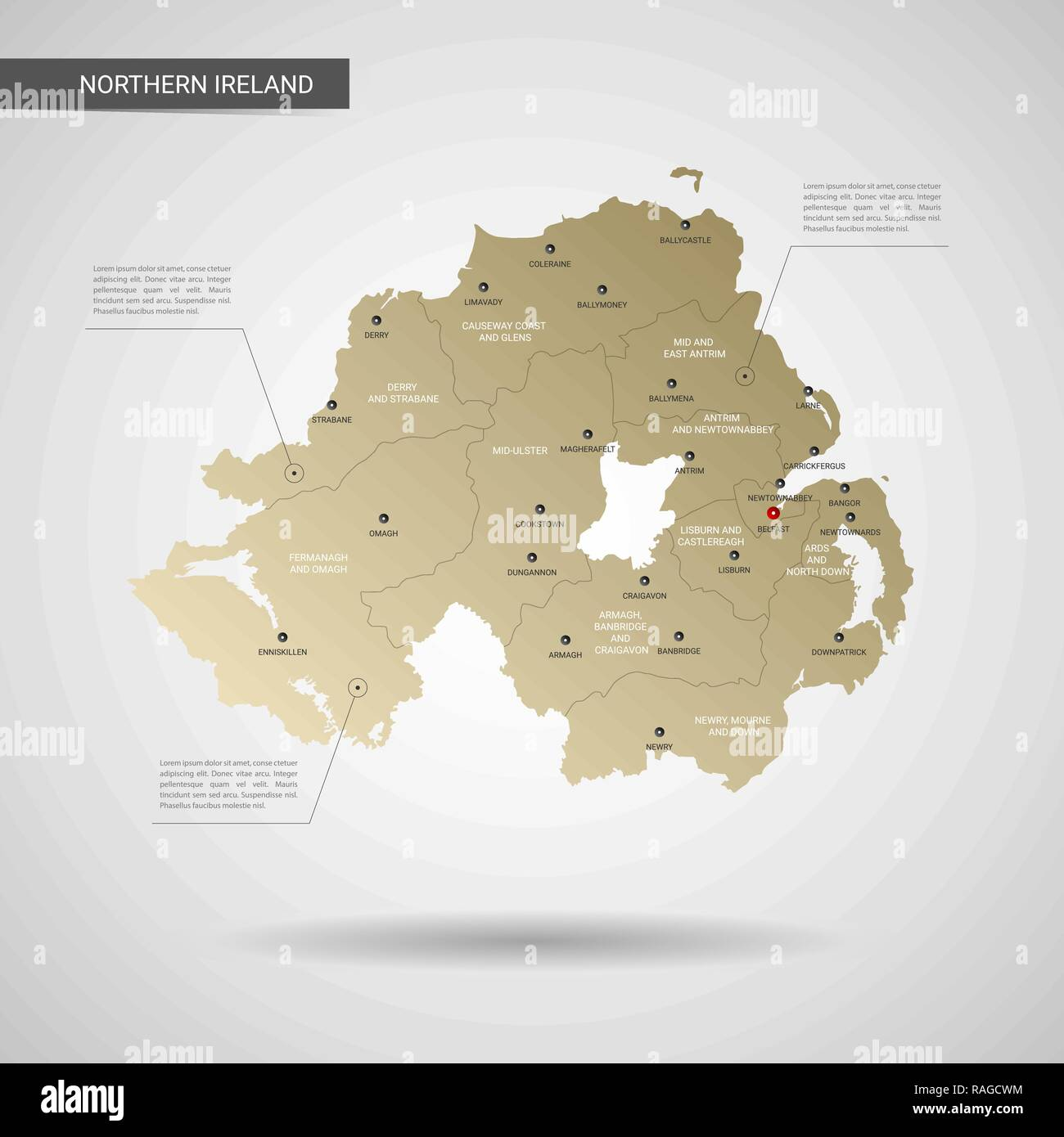 Cities In Ireland Map.Stylized Vector Northern Ireland Map Infographic 3d Gold Map