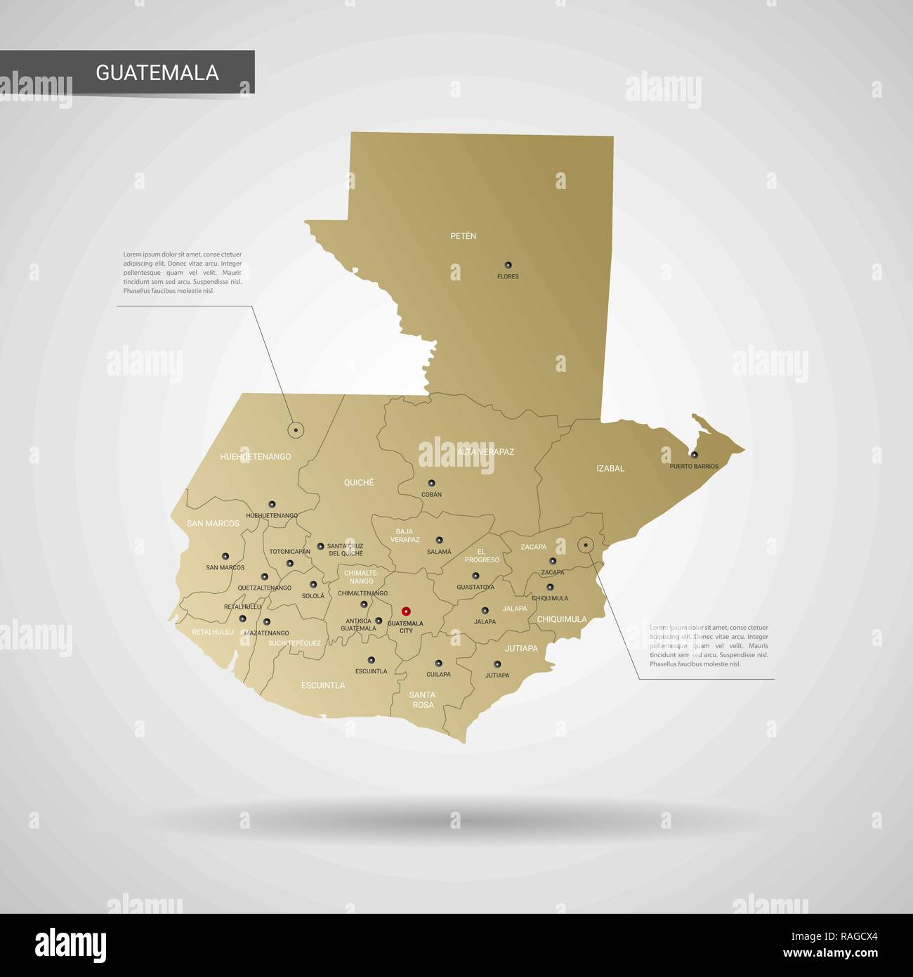 Stylized vector Guatemala map. Infographic 3d gold map illustration ...