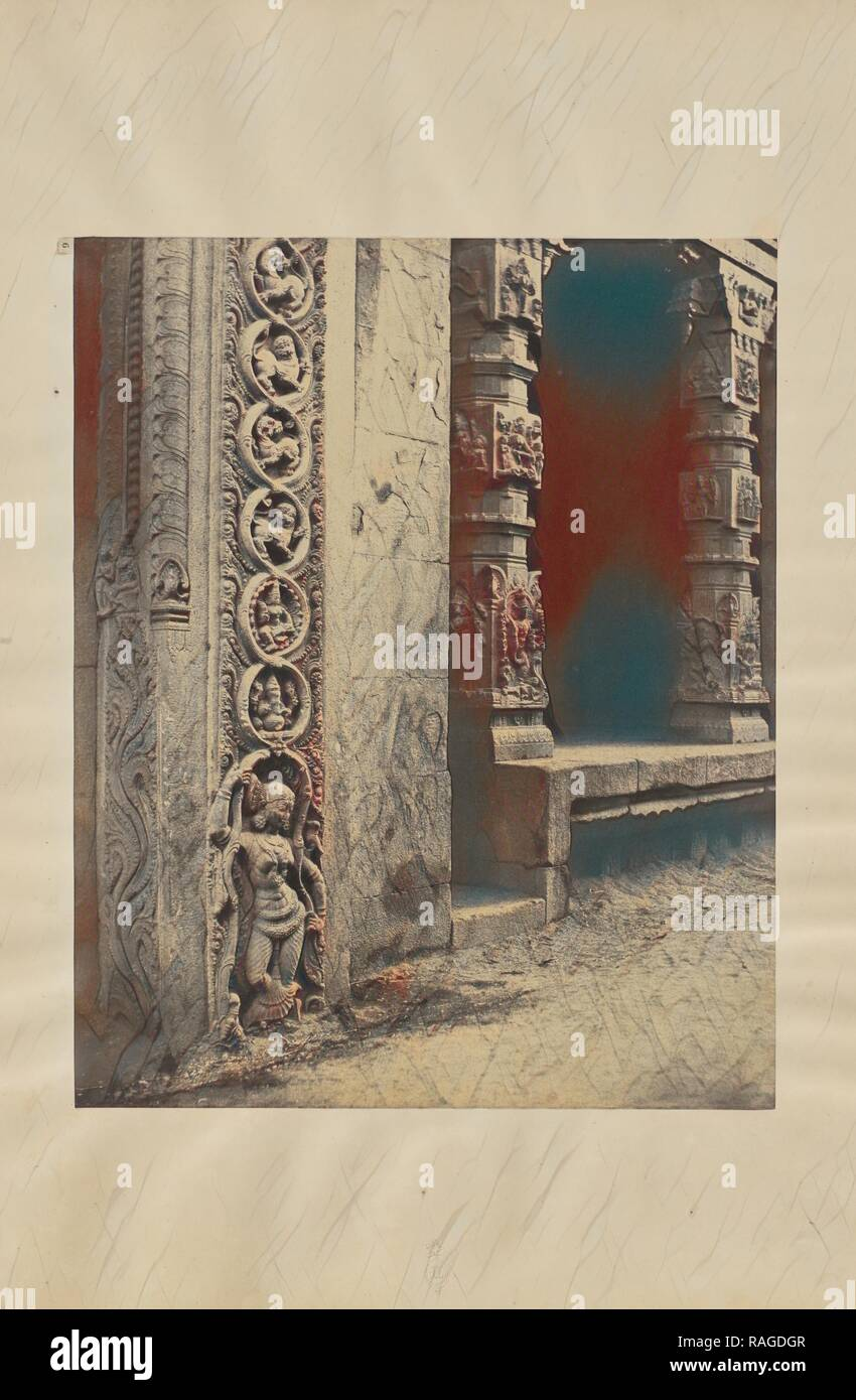 Madura. Pillars in the Recessed Portico in the Roya Gopurum with the Base of One of the Four Sculptured Monoliths reimagined - Stock Image