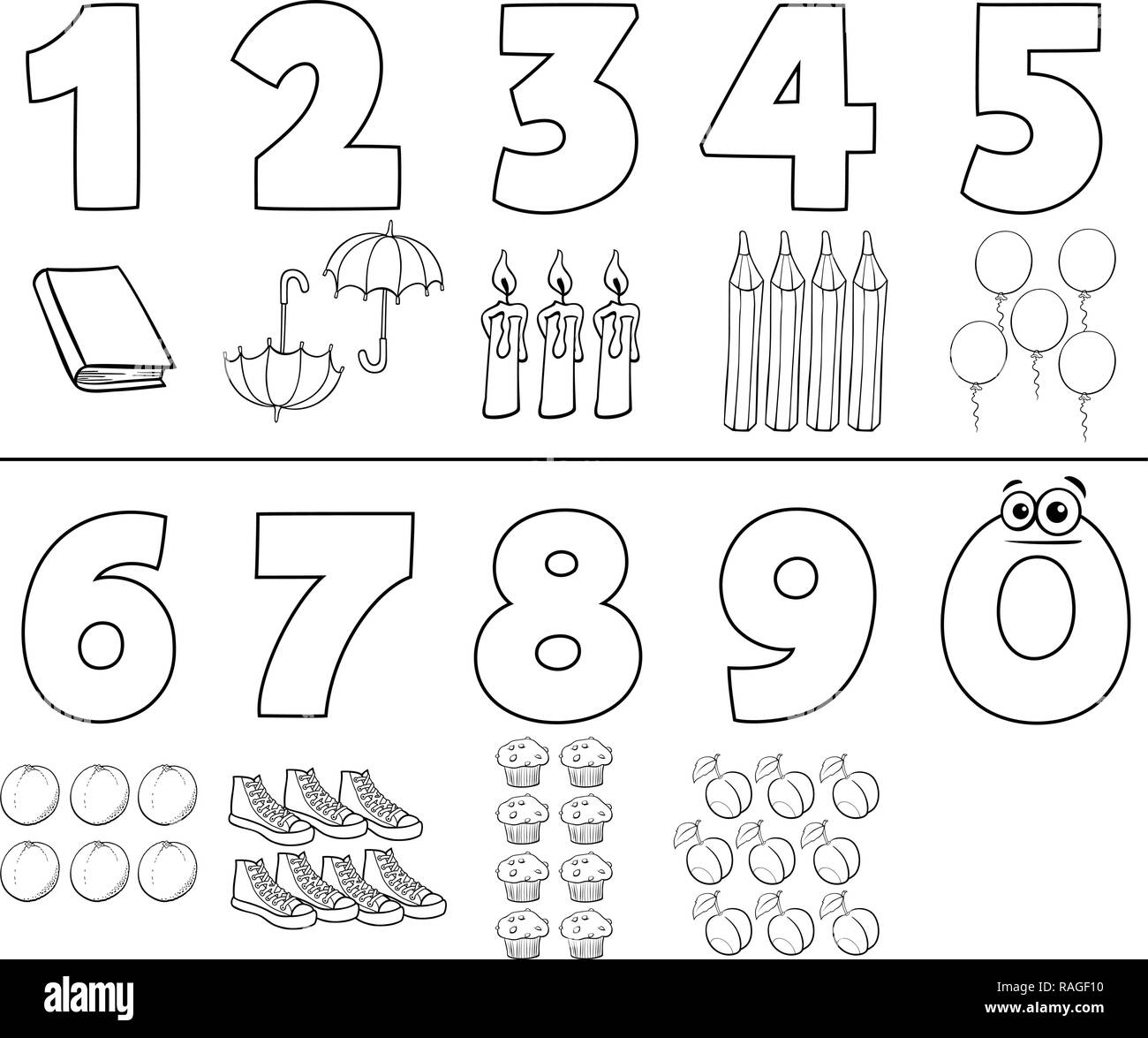 Black And White Cartoon Illustration Of Numbers Set From One