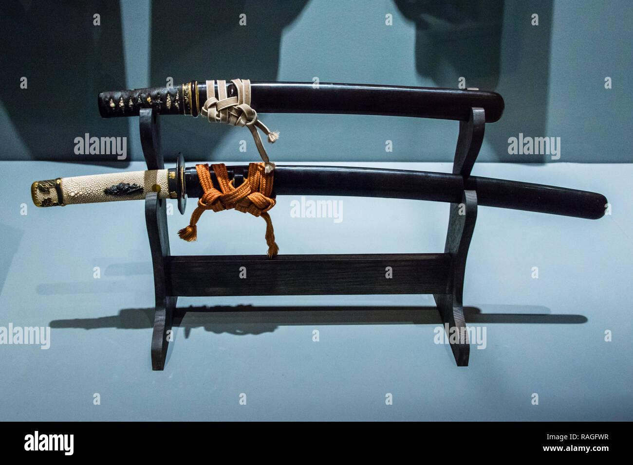 Samurai Wakizashi and Dagger - Stock Image