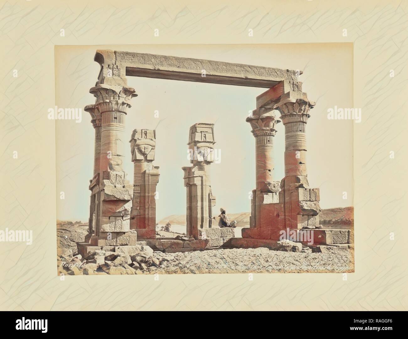 Nubie. Temple de Kerdasêh (égypte), Félix Bonfils (French, 1831 - 1885), 1870s, Albumen silver print. Reimagined - Stock Image