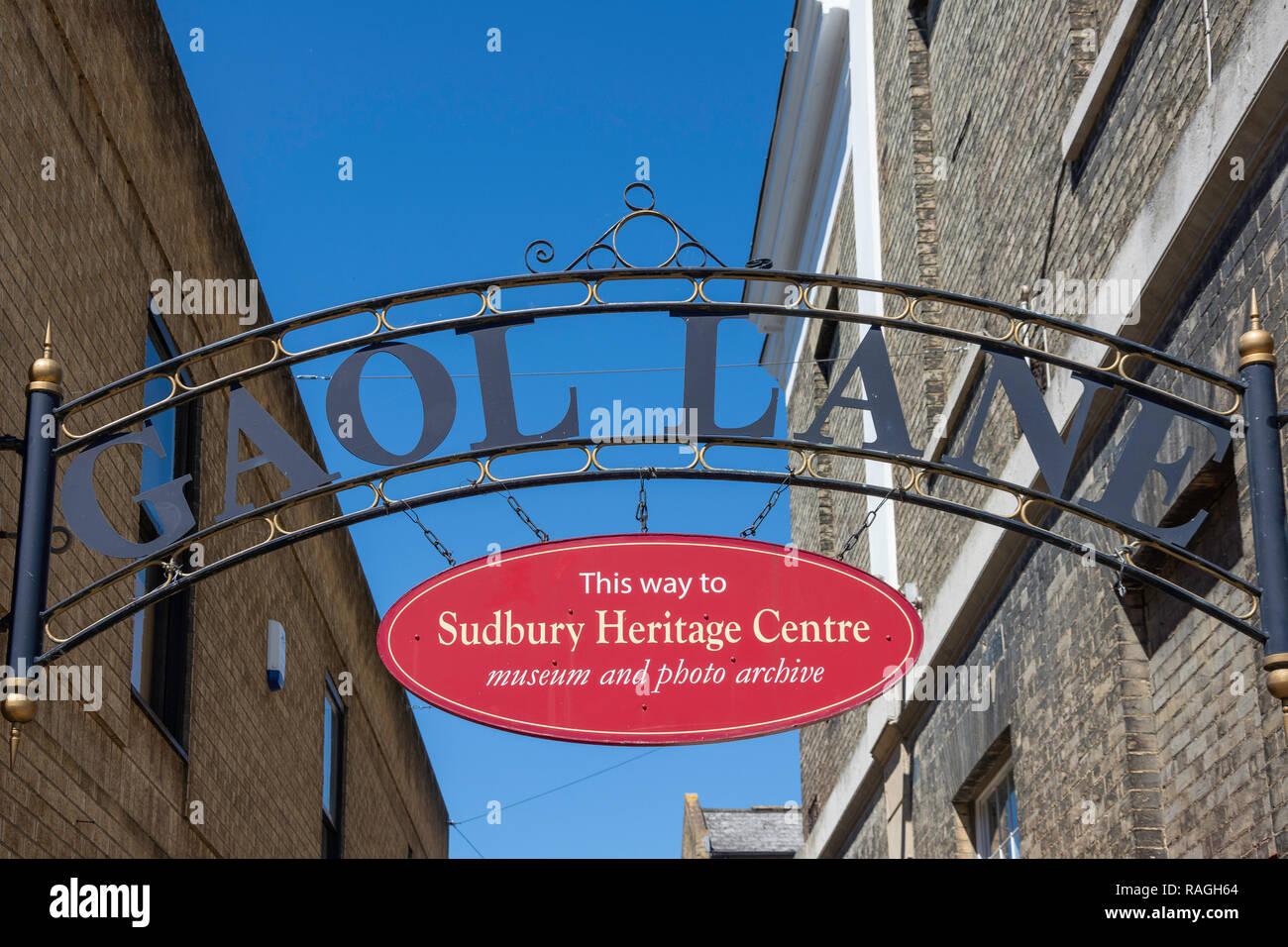 Gaol Lane & Sudbury Heritage Centre sign, Goal Lane, Sudbury, Suffolk, England, United Kingdom - Stock Image