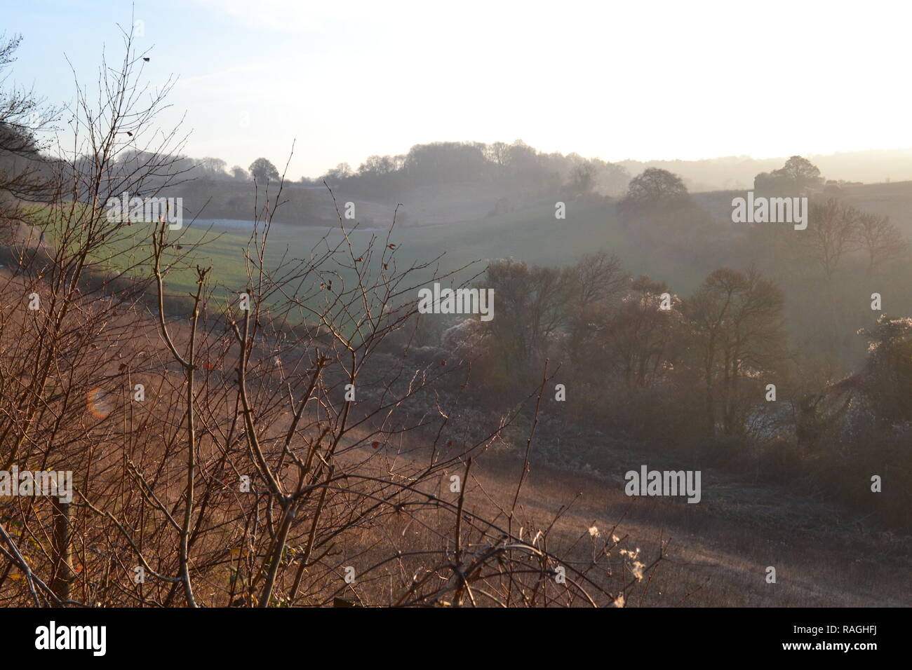 A January afternoon at Romney Street looking towards Magpie Bottom. Countryside in north west Kent, England - Stock Image