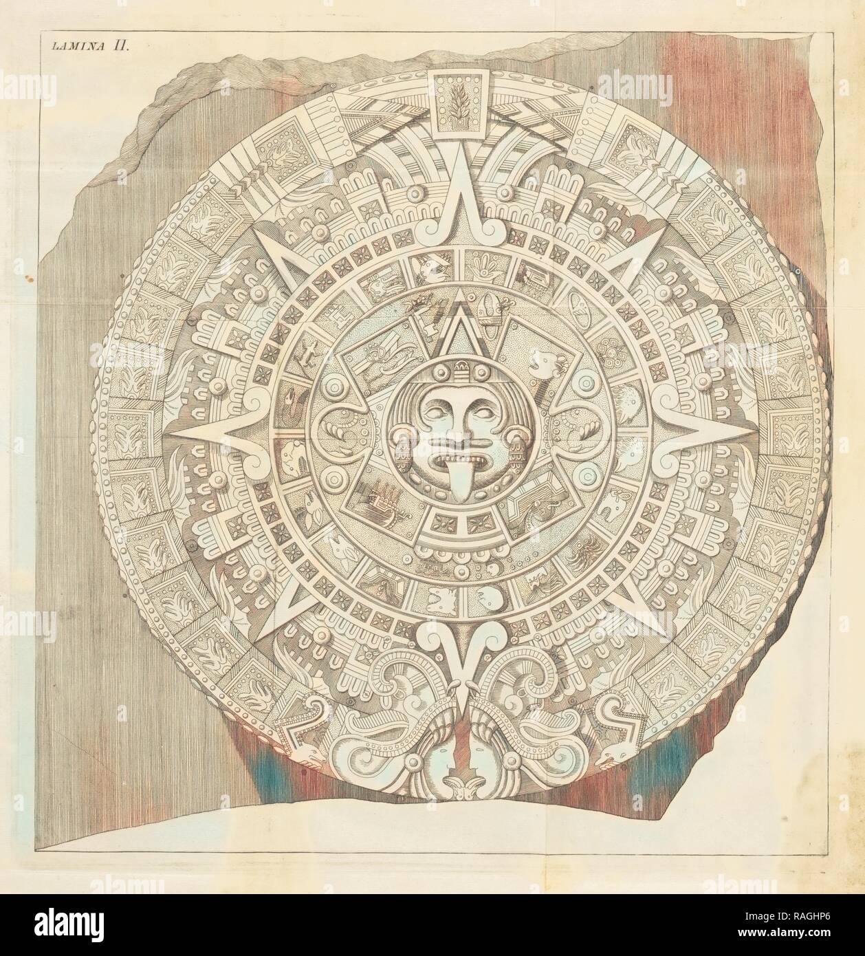 Plate 2, Descripción histórica y cronológica de las dos piedras que con ocasión del nuevo empedrado que se está reimagined - Stock Image