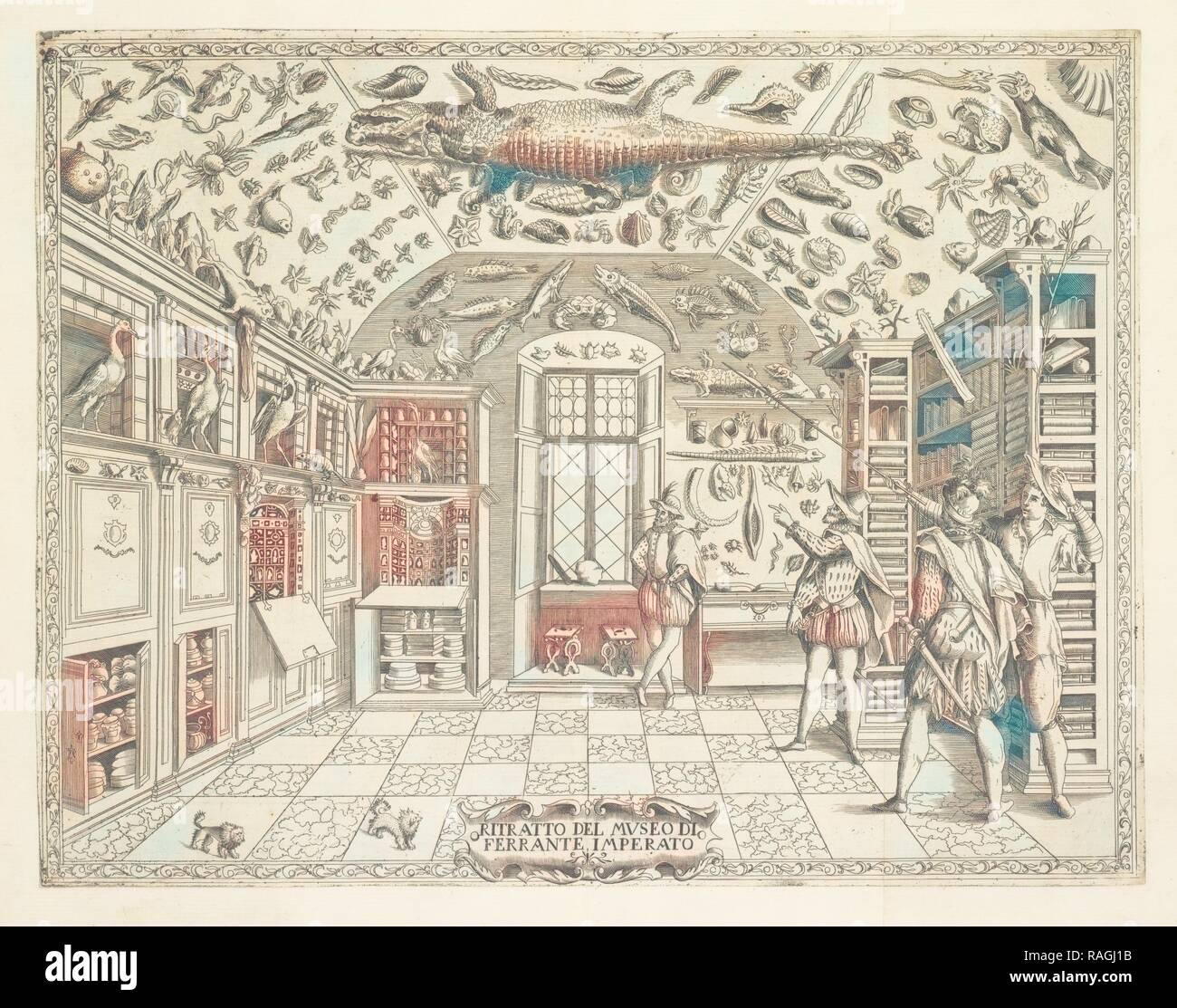 Ritratto del Museo di Ferrante Imperato, Historia natvrale, Imperato, Ferrante, 1550-1625, Copperplate engraving reimagined - Stock Image