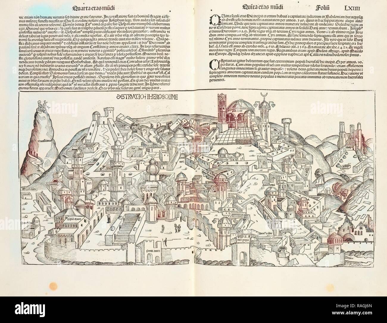 Destruccio Iherosolime, Registrum huius operis libri cronicarum cu, m, figuris et ymagi, nibus ab inicio mundi reimagined - Stock Image