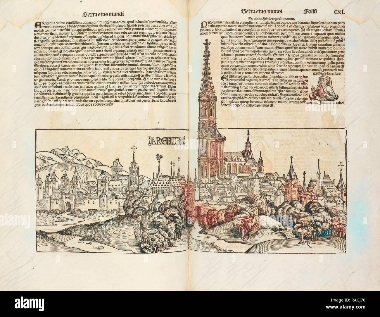 Argentina, Registrum huius operis libri cronicarum cu, m, figuris et ymagi, nibus ab inicio mundi, Pleydenwurff reimagined - Stock Image