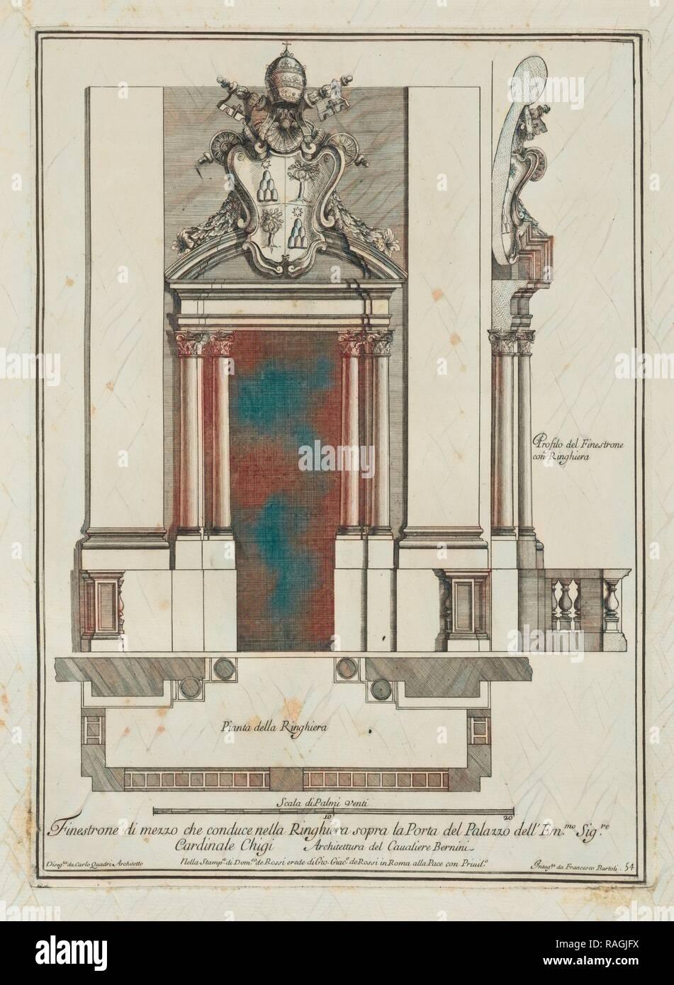 Finestrone di mezzo che conduce nella ringhiera sopra la porta del palazzo dell' Emmo. Sigre. Cardinale Chigi, Stvdio reimagined - Stock Image