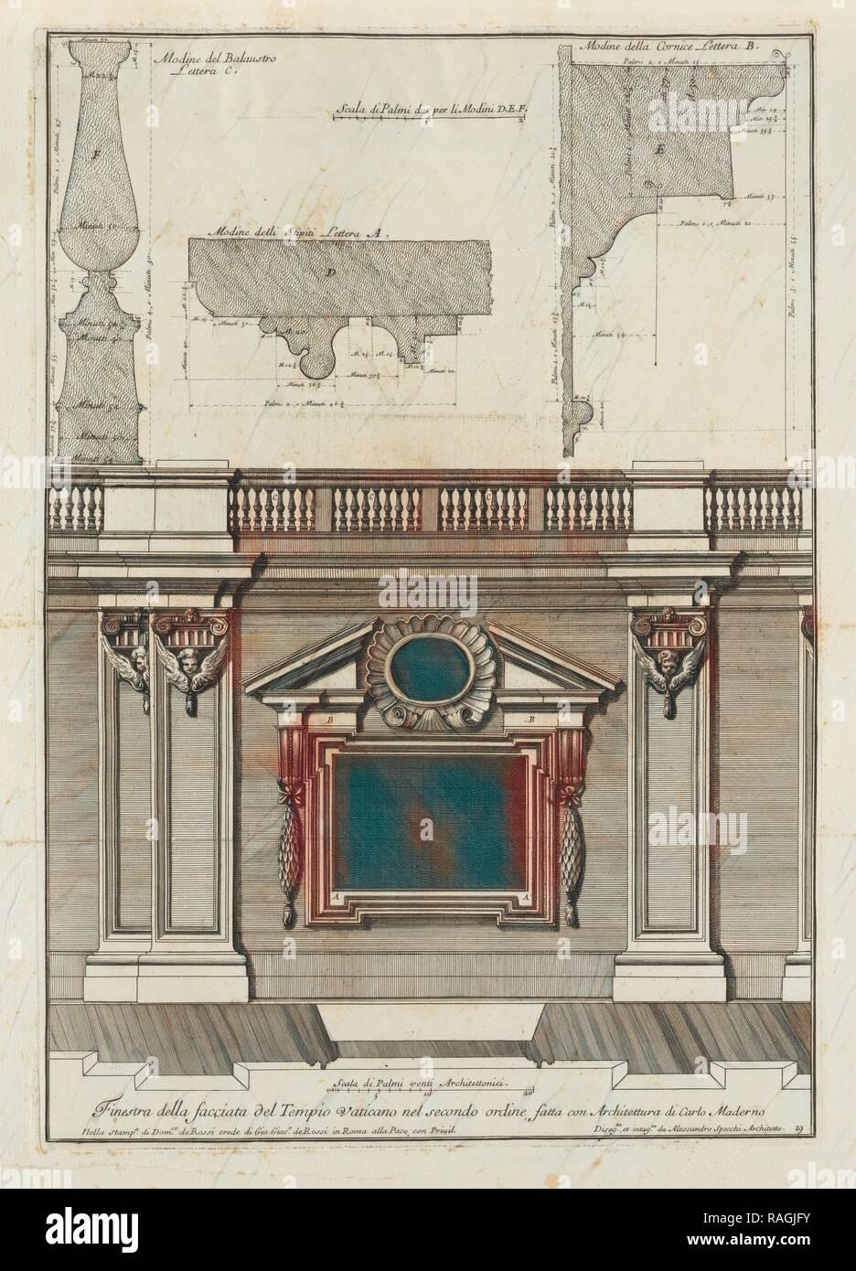 fatta con architettura di Carlo Maderno, Finestra della facciata del Tempio Vaticano nel secondo ordine, fatta con reimagined Stock Photo