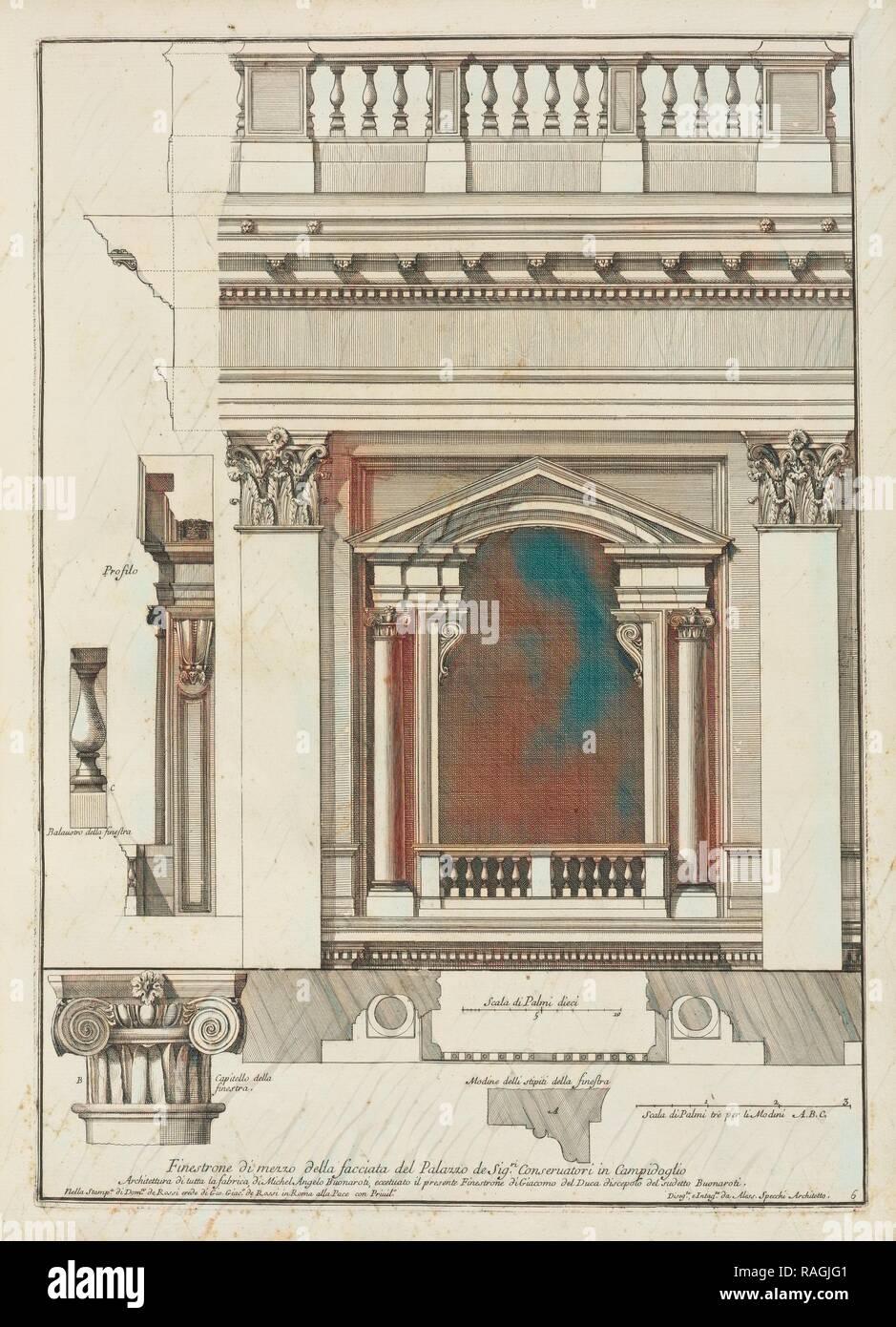 Finestrone di mezzo della facciata del palazzo de Sigri. Conseruatori in Campidoglio, Stvdio d'architettvra civile reimagined - Stock Image