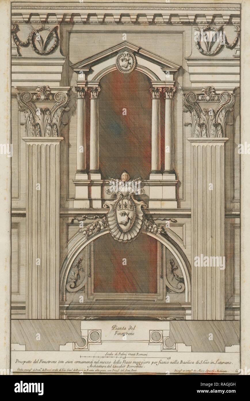 Prospetto del finestrone con suoi ornamenti nel mezzo della naue maggiore per fianco nella Basilica di S. Gio. in reimagined - Stock Image
