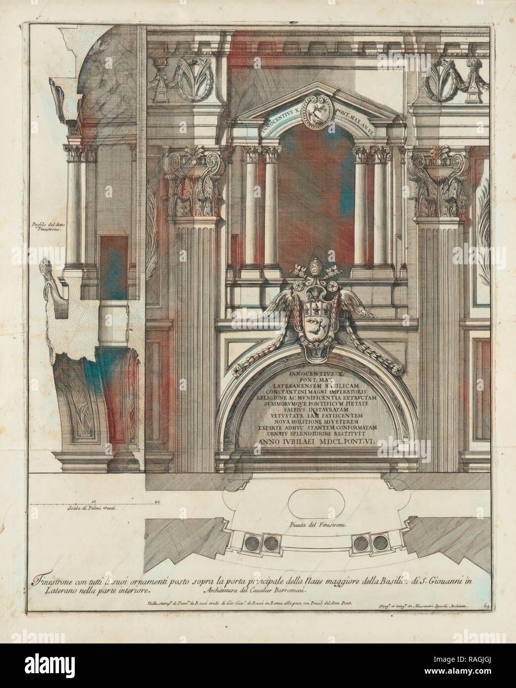 Finestrone con tutti li suoi ornamenti posto sopra la porta principale della naue maggiore della Basilica di S reimagined - Stock Image