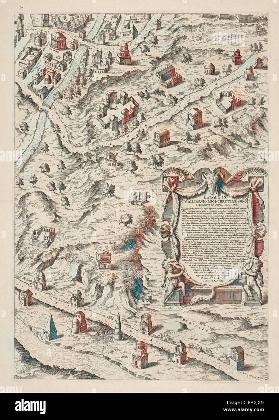 Urbis Romae Sciographia ex Antiquus Monumentis Accuratiss. Delineata. Collection of maps of Rome, Du Pérac, Etienne reimagined - Stock Image