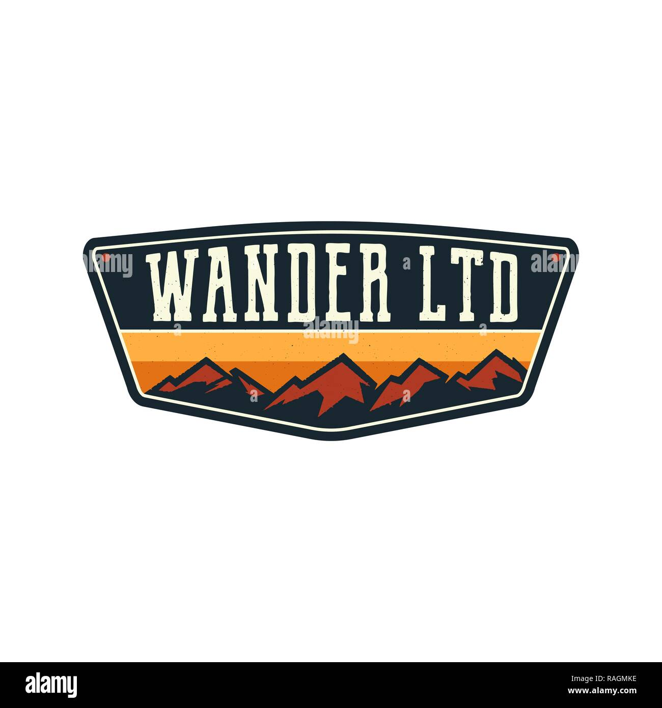 Mountain Illustration, outdoor adventure logo badge. Wander LTD text. Vintage hand drawn camping emblem. Stock vector label isolated on white background - Stock Image