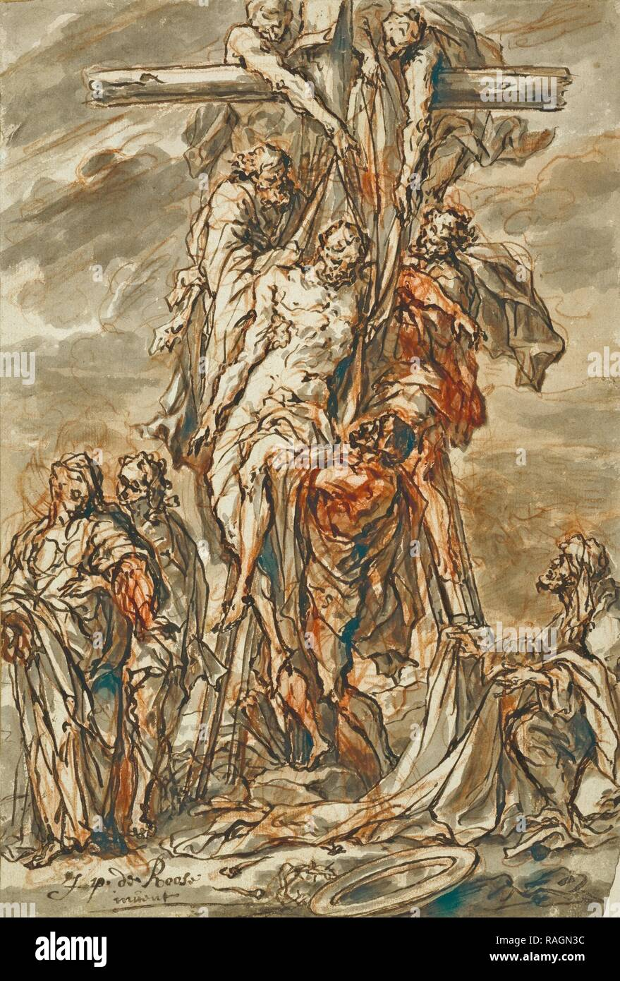 Descent from the Cross, Phillip Roos (German, 1655,1657 - 1706), about 1696, Pen and brown ink with gray wash over reimagined Stock Photo