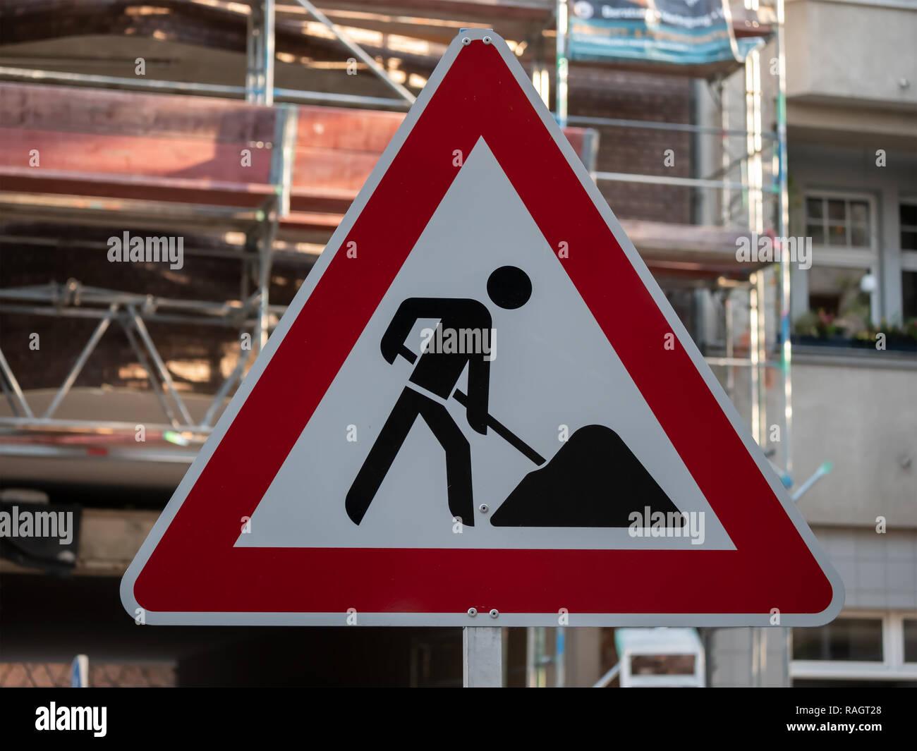 German Construction Work Street Sign In Berlin - Stock Image