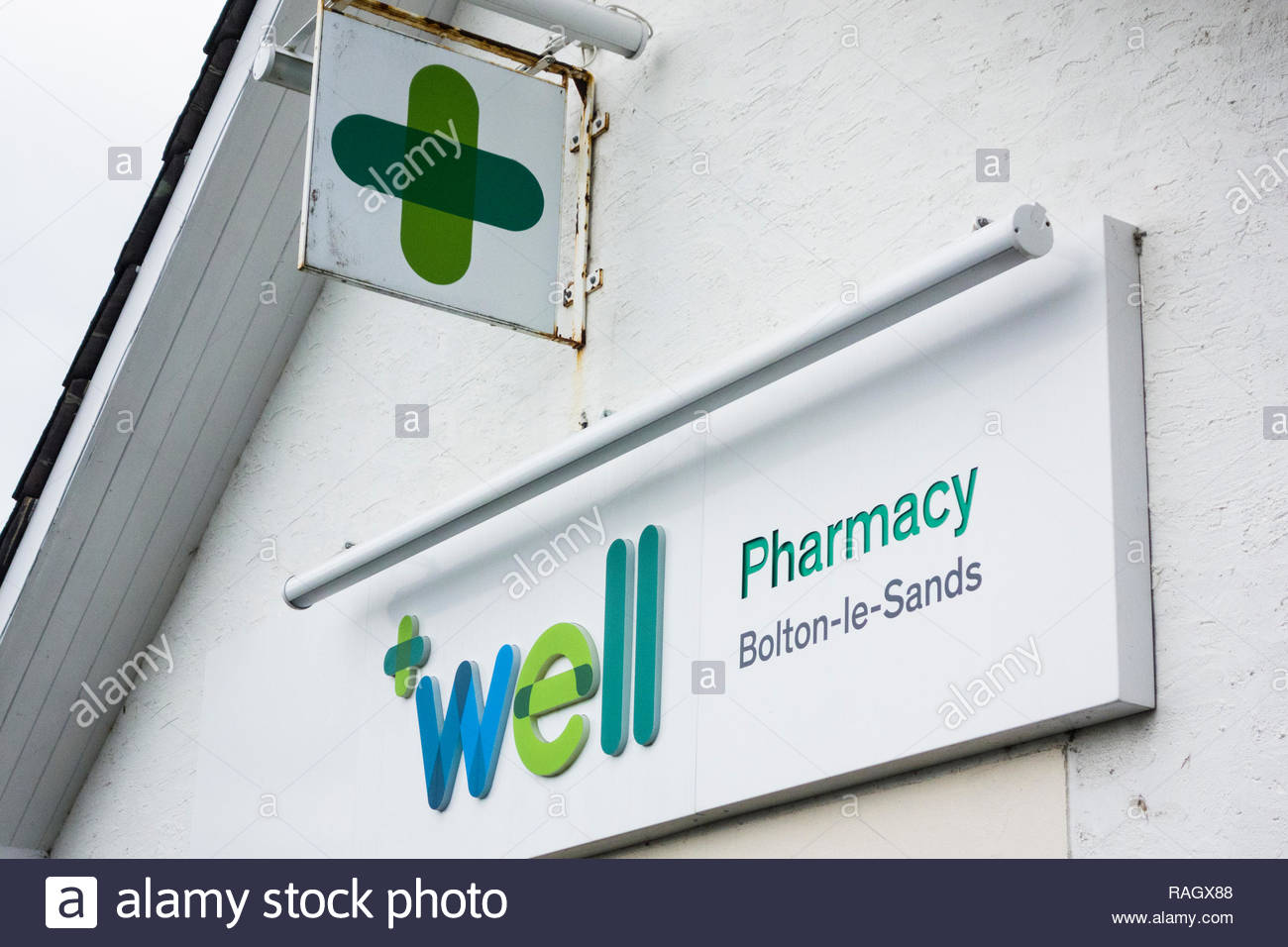 The Well Pharmacy, a dispensing chemist in Bolton le Sands, Lancashire, England, UK - Stock Image