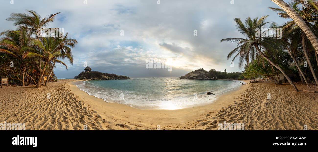 Sunrise at Cabo San Juan in Tayrona National Park, Colombia - Stock Image